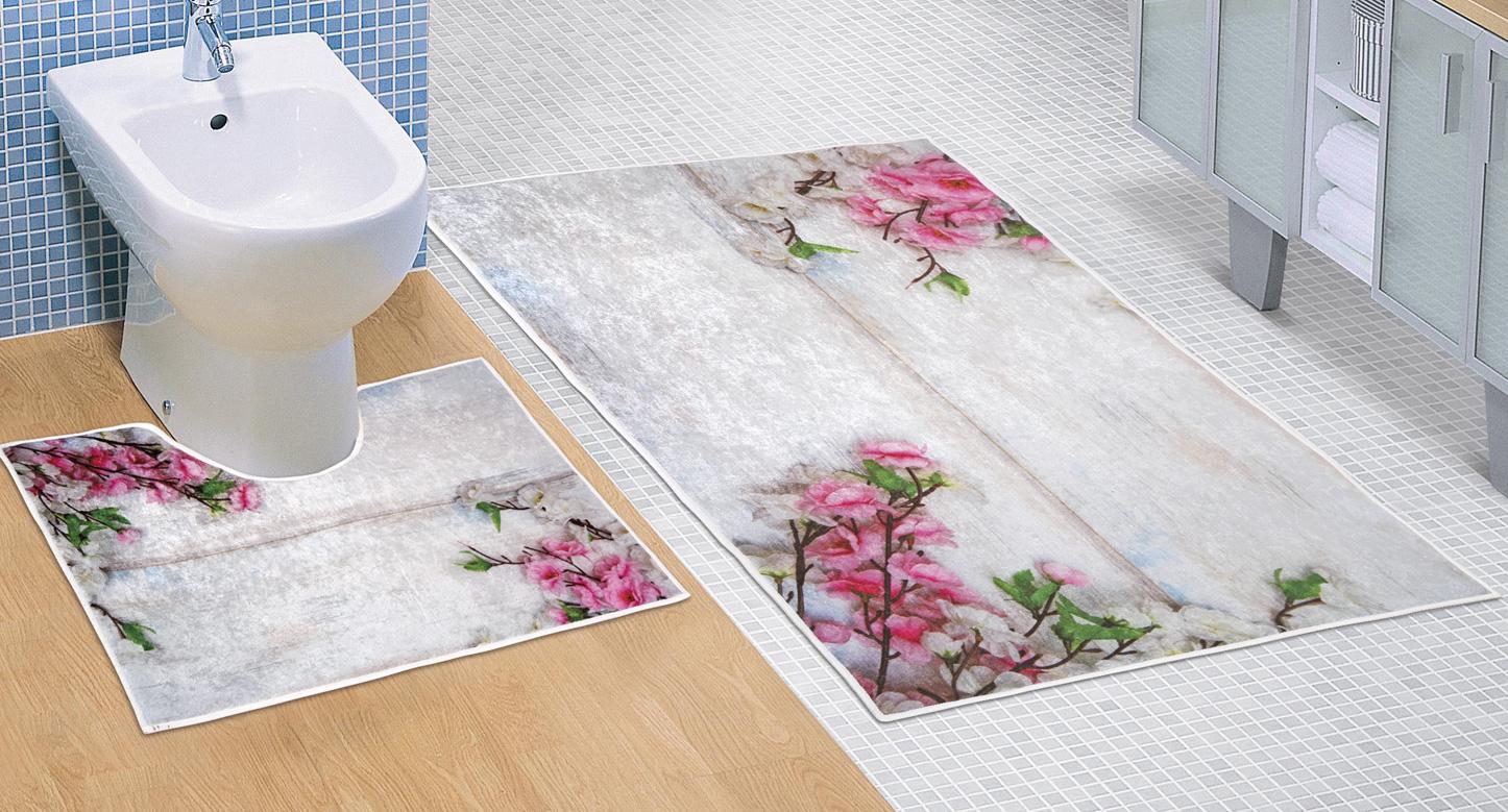 Koupelnová sada předložek 3D 60x100+60x50cm Fialová kytice