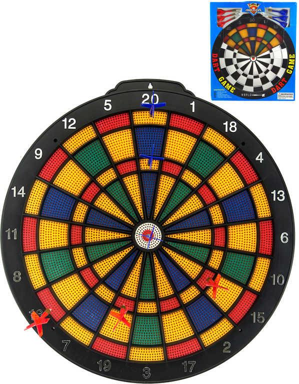 Hra šipky terč závěsný 40cm plastový + 6 šipek *SPOLEČENSKÉ HRY*