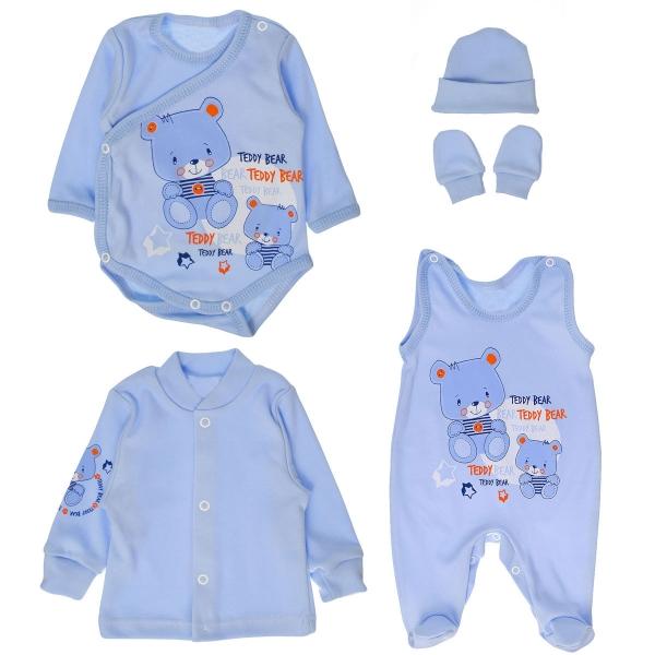 Soupravička do porodnice 5D vel. 62 - medvídci Teddy - modrá - 62 (2-3m)