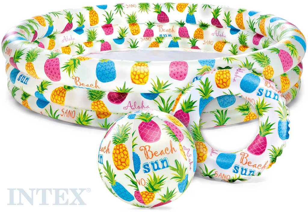 INTEX Nafukovací set bazén 132x28cm s míčem a plavacím kolem ananas do vody
