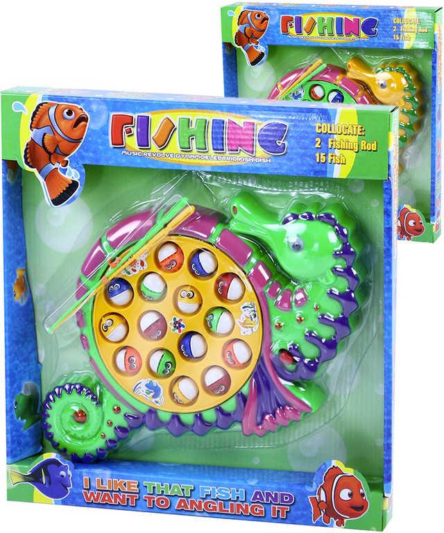 Hra na rybaření mořský koník dětský rybolov na baterie s melodií - 2 barvy