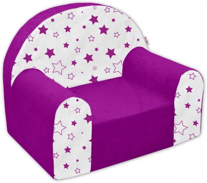 Dětské křesílko/pohovečka Nellys ® - Magic stars - fialové