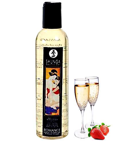 Erotický masážní olej Shunga Romance Champagne Strawberry 250ml