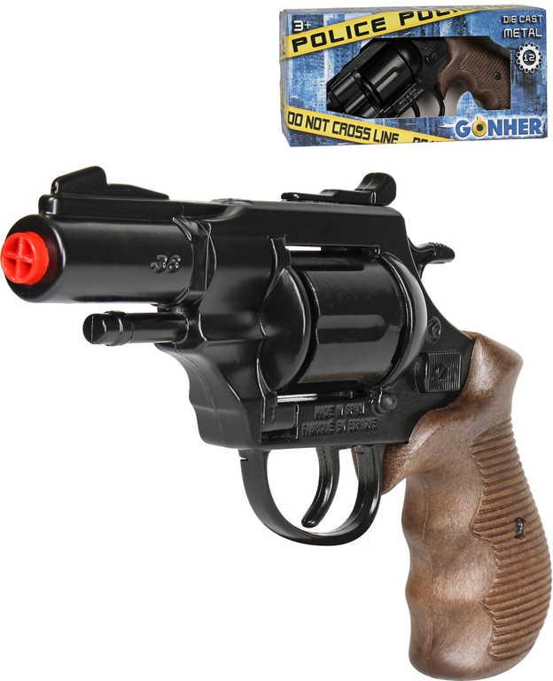 Dětská policejní kapslovka revolver Gold collection černý kovový 12 ran na kapsle