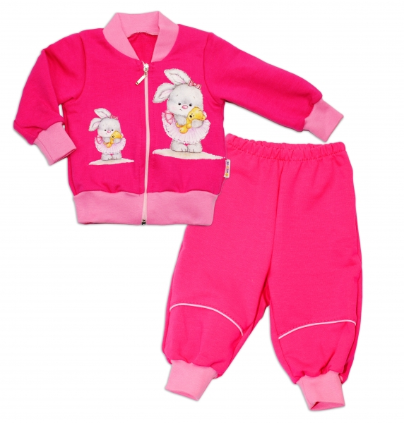 Bavlněná tepláková souprava Baby Nellys ® - tm. růžová - 62 (2-3m)