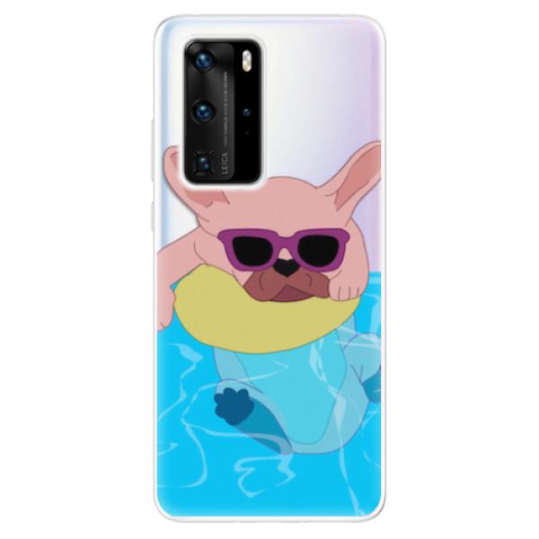 Odolné silikonové pouzdro iSaprio - Swimming Dog - Huawei P40 Pro