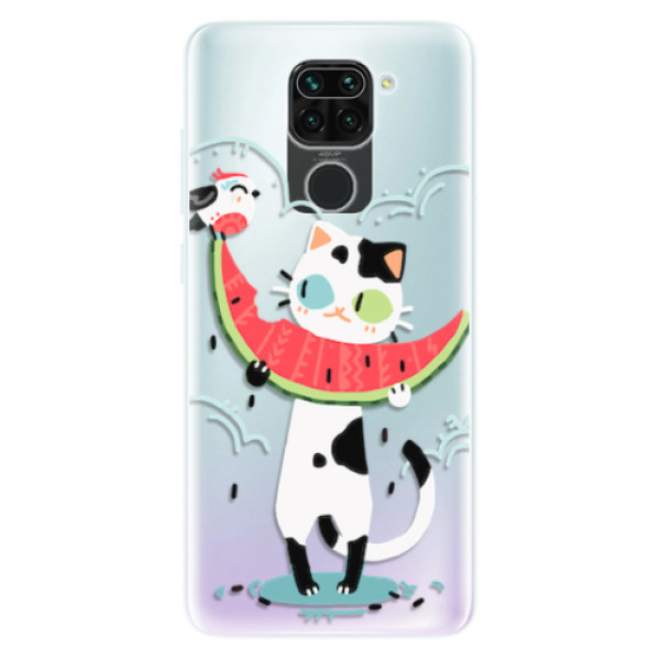 Odolné silikonové pouzdro iSaprio - Cat with melon - Xiaomi Redmi Note 9