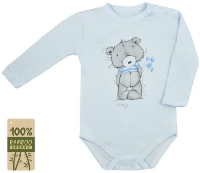 Koala Baby body s dlouhým rukávem bambus Tommy - modrá - 74 (6-9m)