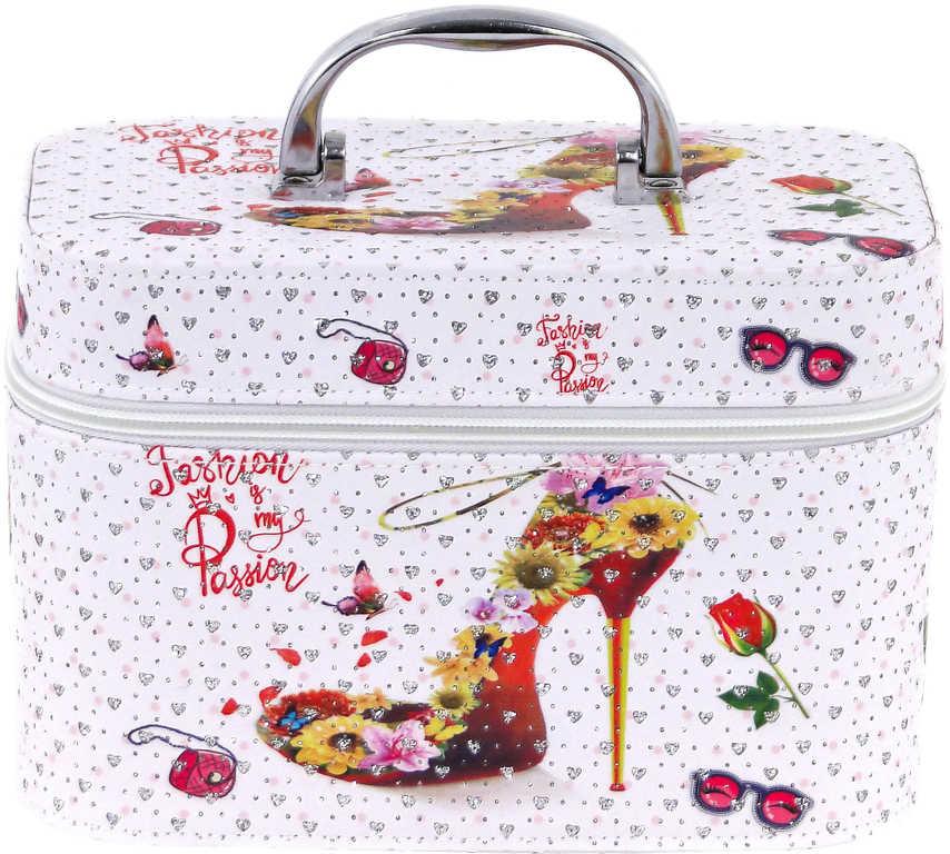 Kufřík dětský kosmetický bota se zrcadlem bílý na zip pro holčičky