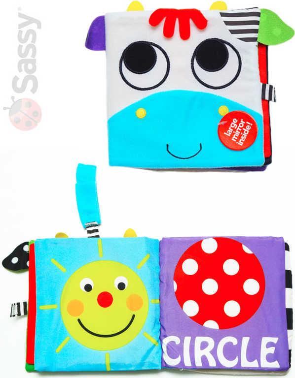 SASSY Baby knížka textilní závěsná kravička chrastítko pro miminko
