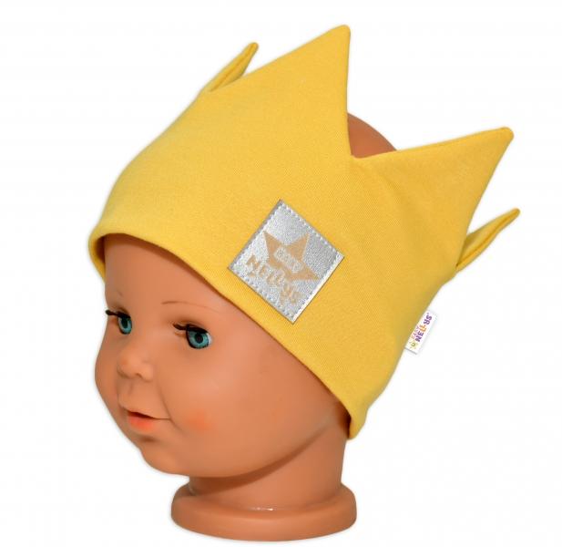 baby-nellys-hand-made-bavlnena-celenka-dvouvrstva-korunka-horcicova-44-48cm-3-7let-44-48-cepicky-obvod-3-7-let