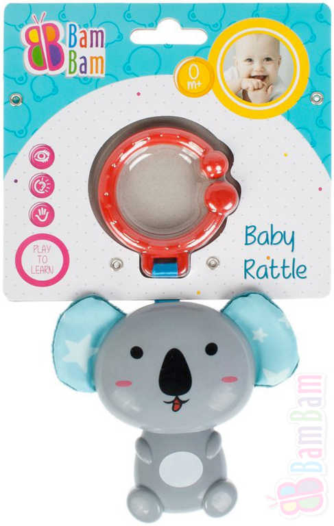 ET BAM BAM Baby chrastítko koala přívěsek s klipem pro miminko