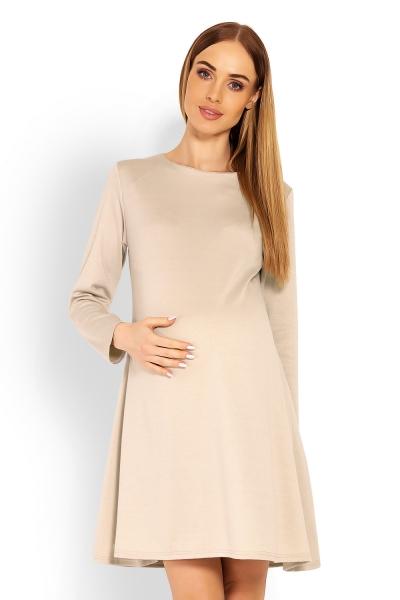 Elegantní volné těhotenské šaty dl. rukáv - béžové, L/XL - L/XL