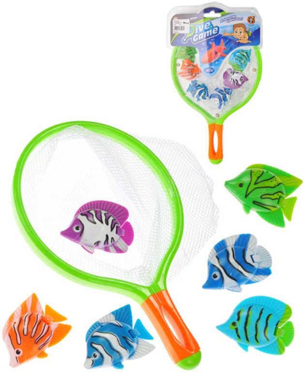Malý rybář set síťka 30cm + rybičky 6ks 5,5cm na chytání do vody na potápění