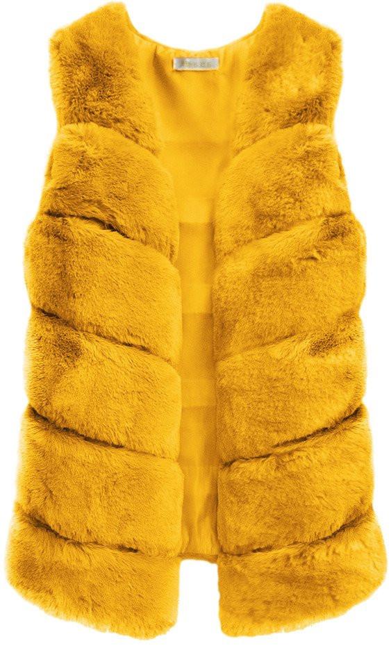 Vesta v hořčicové barvě z umělé kožešiny (456ART) - Žlutá/ONE SIZE