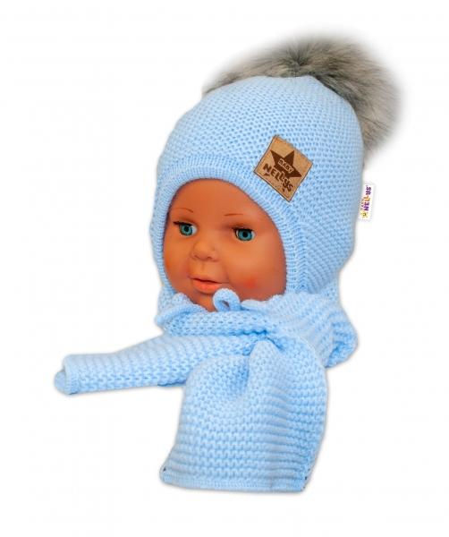 BABY NELLYS Zimní čepička s šálou - chlupáčková bambulka - sv. modrá/šedá - 12/24měsíců
