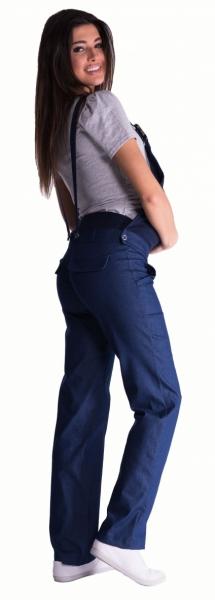 Be MaaMaa Těhotenské kalhoty s láclem - černý melírek - XL (42)