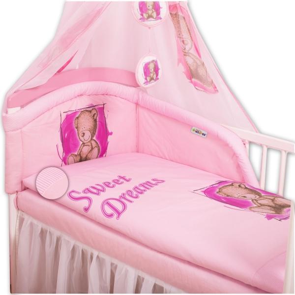 Baby Nellys Povlečení Sweet Dreams by Teddy - růžový - 120x90