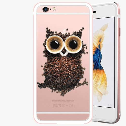 Plastový kryt iSaprio - Owl And Coffee - iPhone 6 Plus/6S Plus - Rose Gold