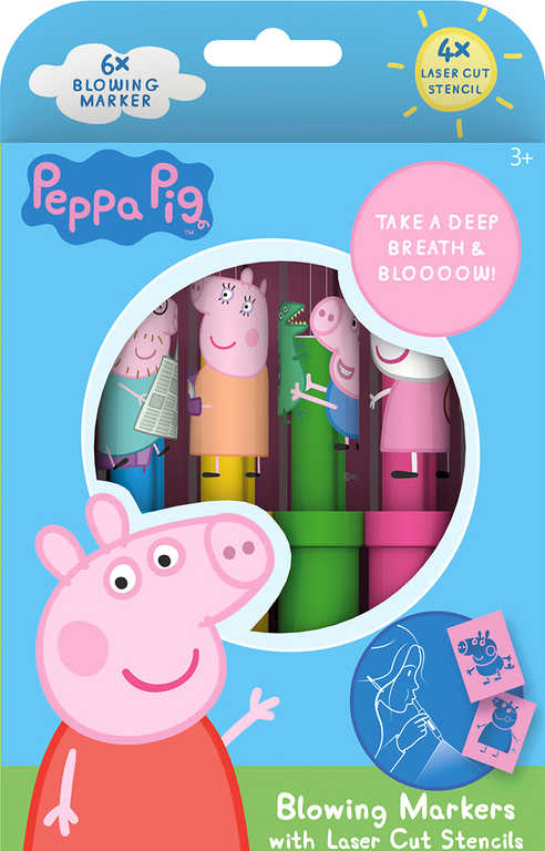 JIRI MODELS Fixy foukací 6ks Peppa Pig set se 4 šablonami