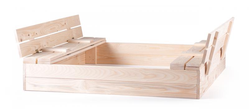 Pískoviště dřevěné s krytem, se 2 lavicemi, natur