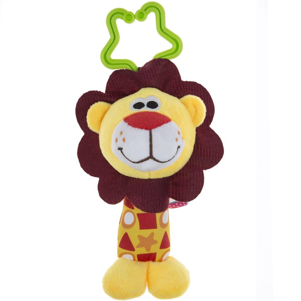Plyšová hračka s chrastítkem Akuku lev - žlutá