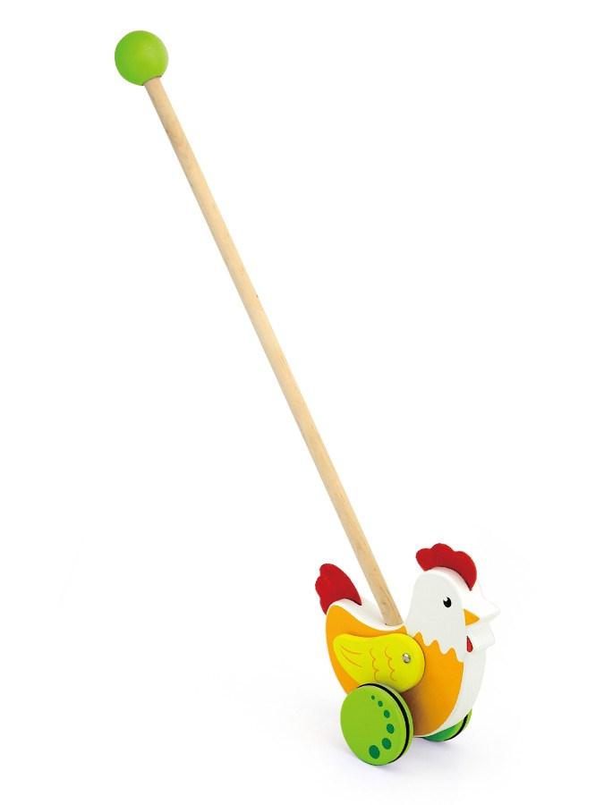 Dřevěná jezdící hračka Viga - slepička - oranžová