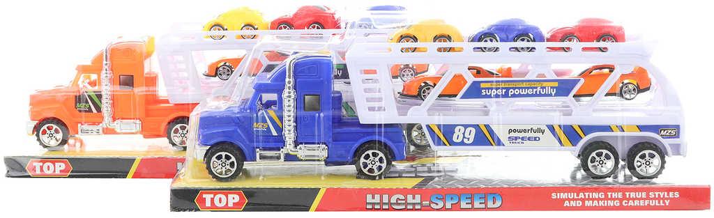 Kamion plastový herní set tahač s 5 autíčky 2 barvy
