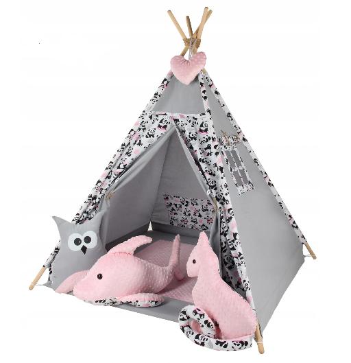 Baby Nellys Stan pro děti týpí s velkou výbavou - šedý, růžový