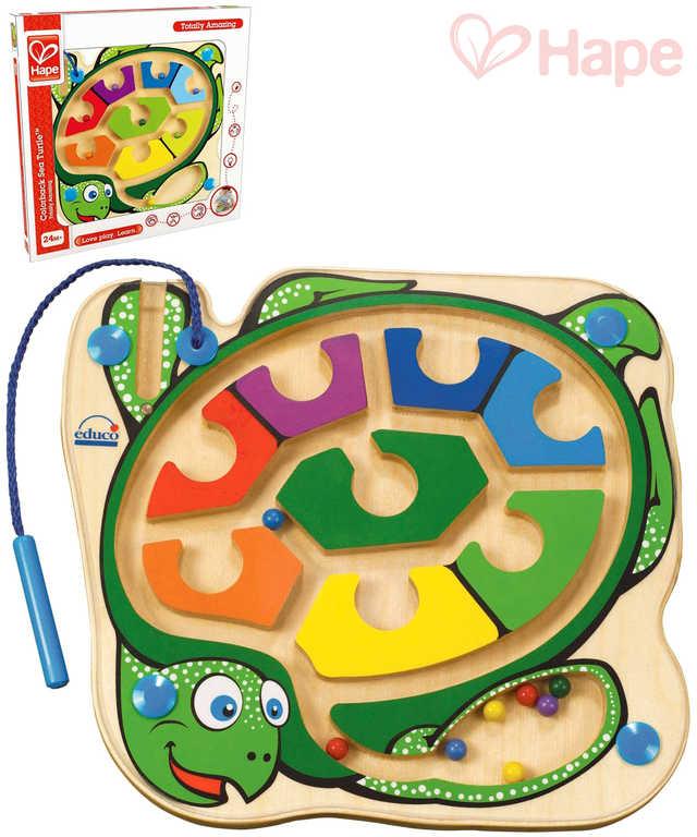HAPE DŘEVO Baby labyrint kuličkový želva s magnetickou hůlkou pro miminko