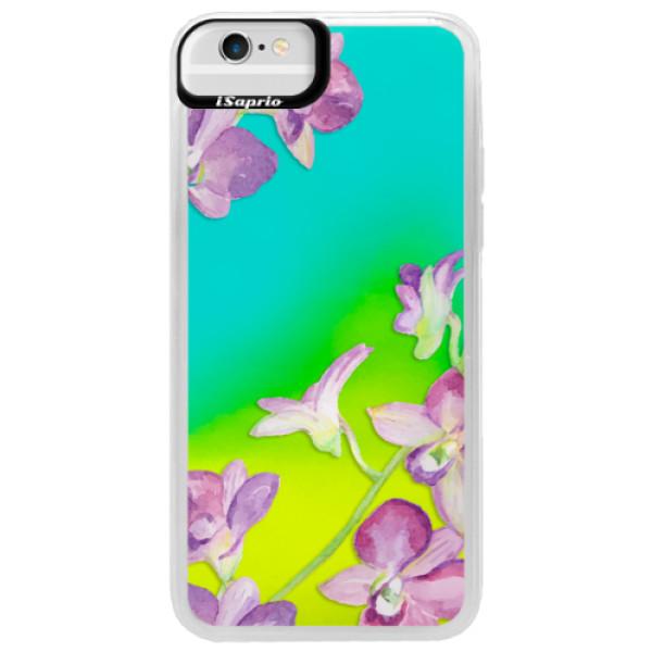 Neonové pouzdro Blue iSaprio - Purple Orchid - iPhone 6/6S