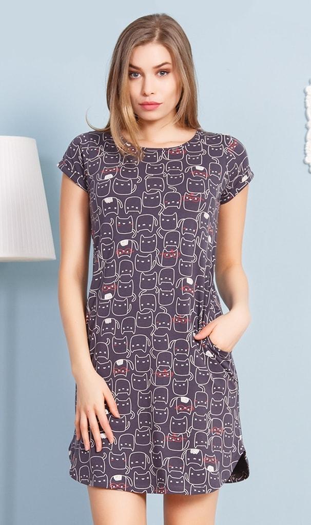 Dámské domácí šaty s krátkým rukávem Kočky - tmavě šedá - S
