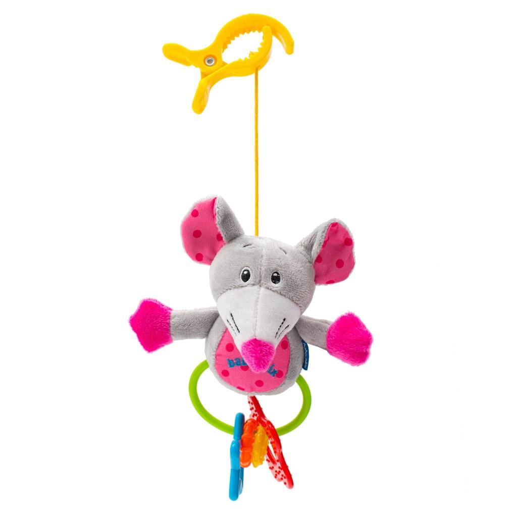 Dětská plyšová hračka s chrastítkem Baby Mix myš - růžová