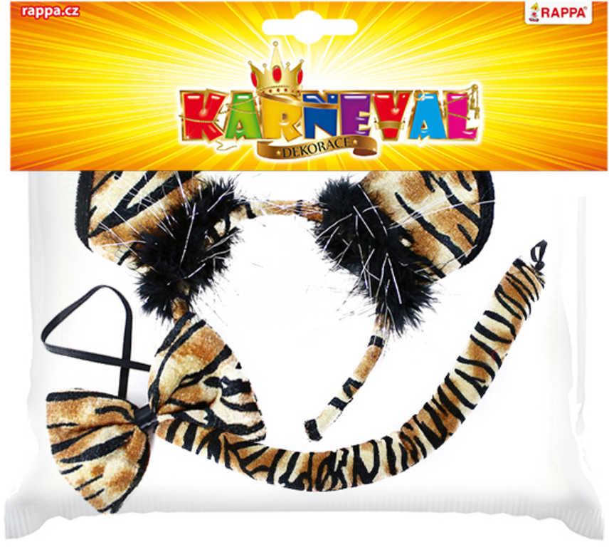 KARNEVAL Tygr set čelenka s motýlkem a ocasem *KARNEVALOVÝ DOPLNĚK*