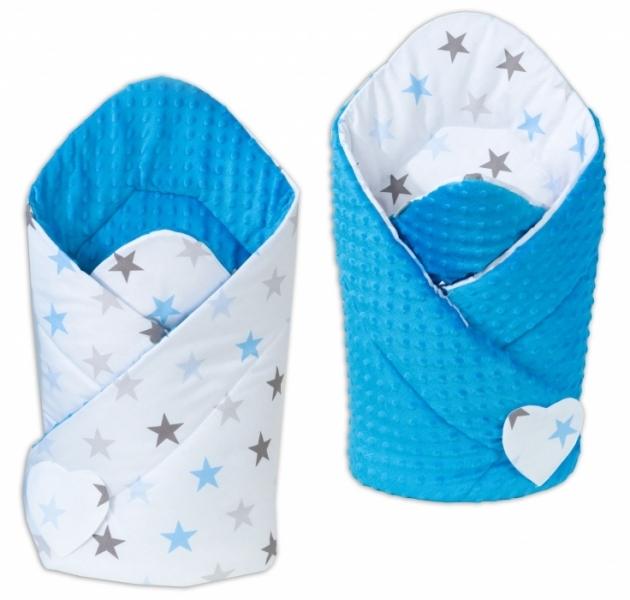 Oboustranná zavinovačka Minky Baby - Hvězdy modré a šedé/ modrá