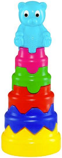 PL Baby skládačka věž velká skládací tvary s medvídkem pro miminko 2 barvy