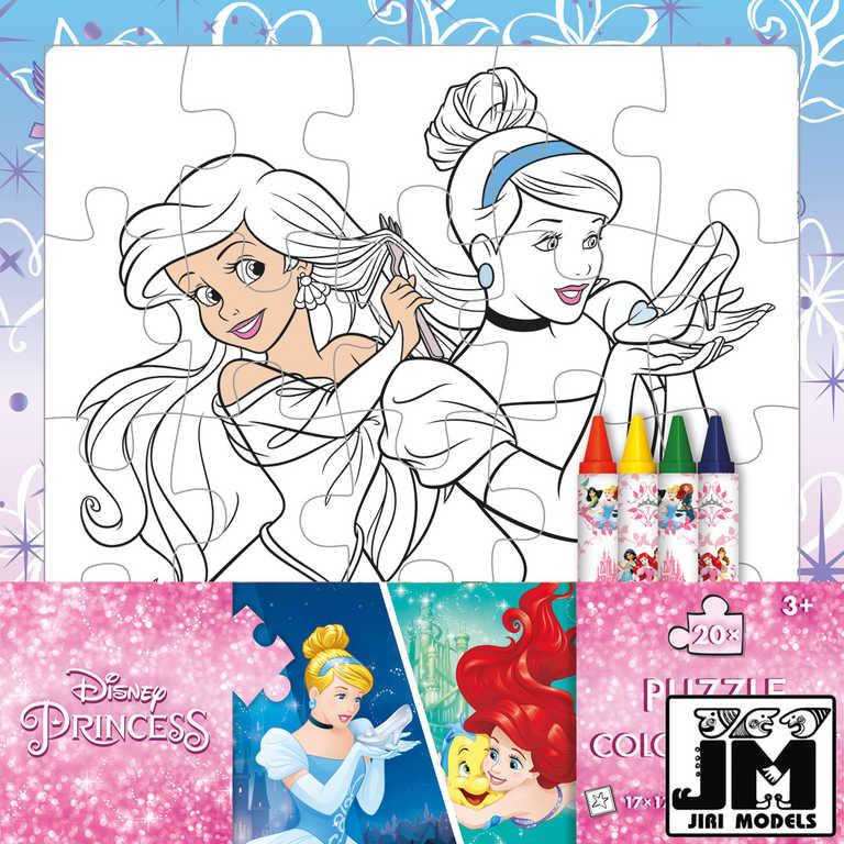 JIRI MODELS Omalovánky puzzle s voskovkami Disney Princess
