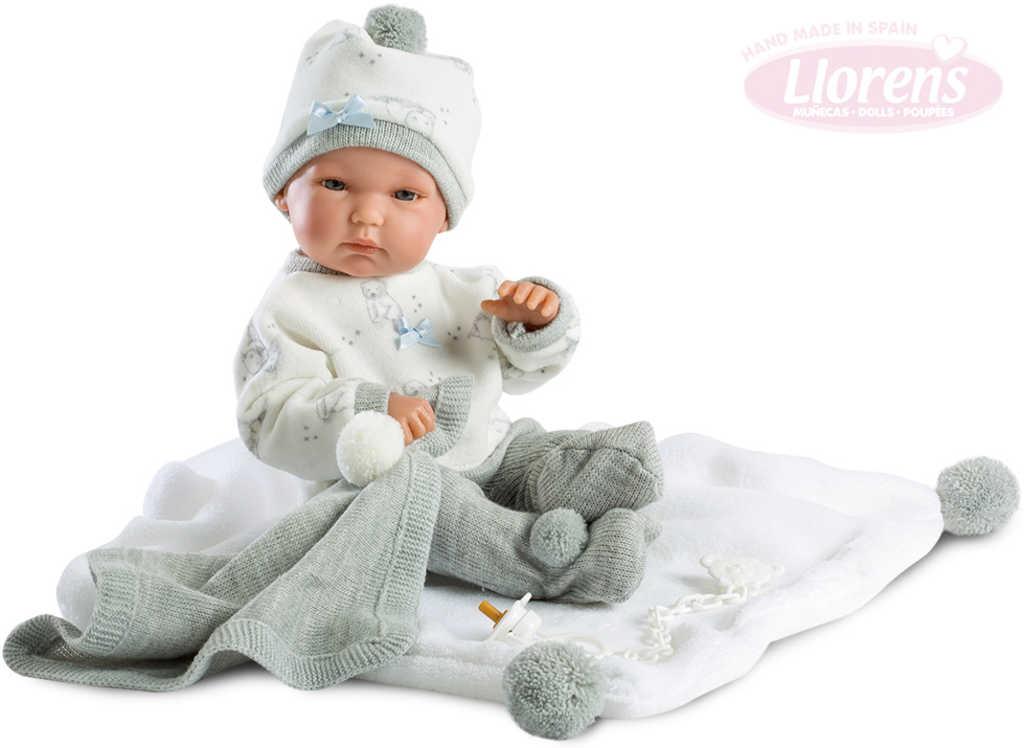 LLORENS Panenka new born miminko chlapeček 35cm set s dudlíkem a doplňky