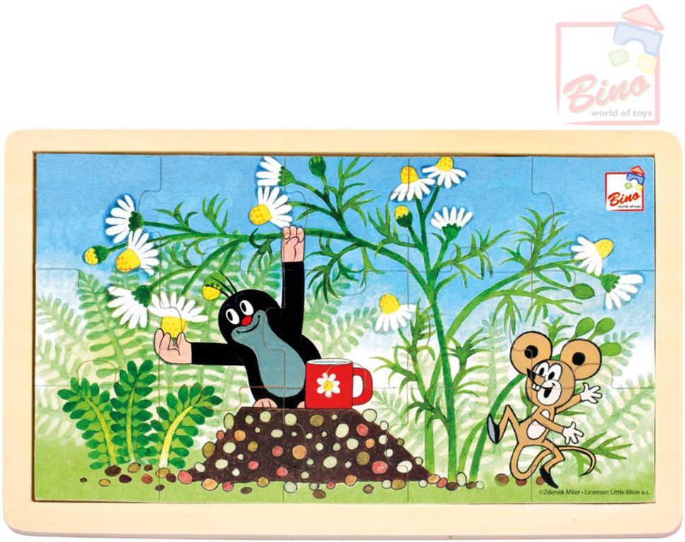BINO DŘEVO Puzzle (Krteček) Krtek a myška 15 dílků skládanka v rámečku