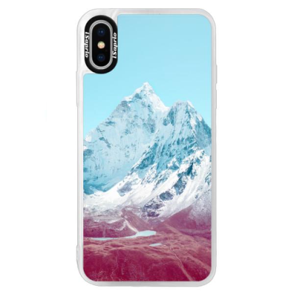 Neonové pouzdro Blue iSaprio - Highest Mountains 01 - iPhone XS