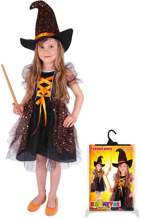 KARNEVAL Šaty čarodějnice Halloween vel. L (128-156 cm) 8-12 let KOSTÝM