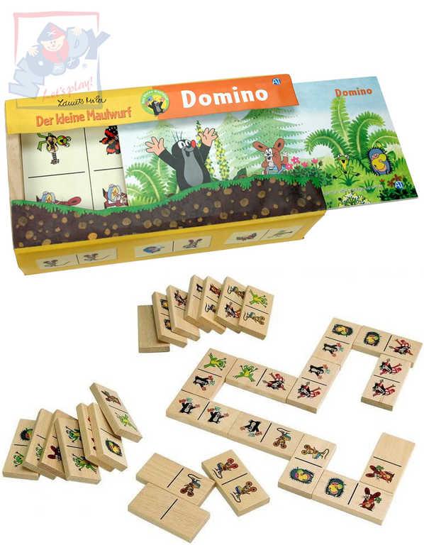 Hra Domino Krtek 28 dílků v dřevěné krabičce