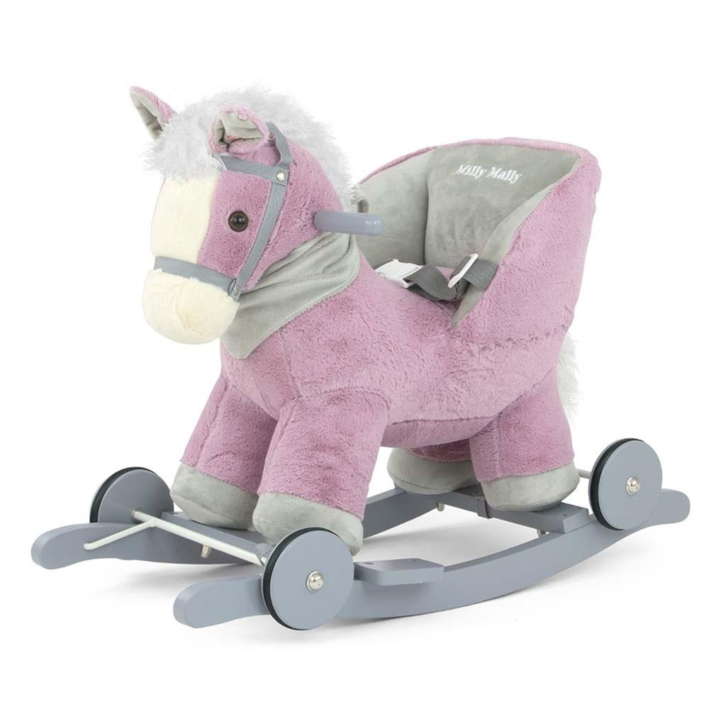 Houpací koník s melodií a kolečky Milly Mally Polly fialový - fialová