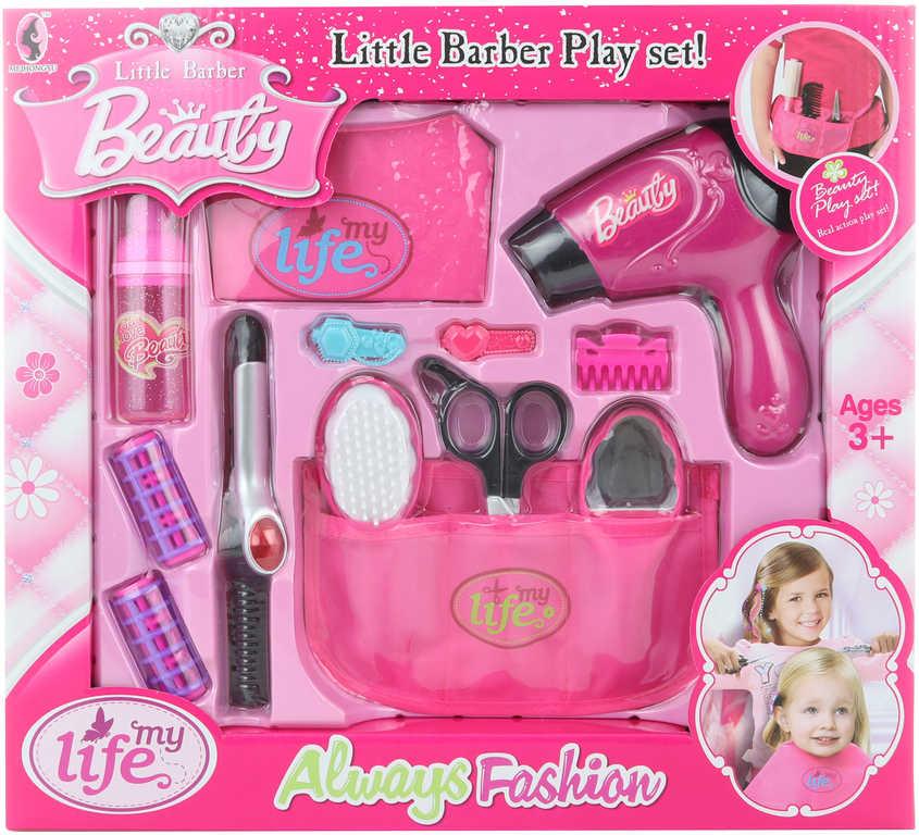 Malá kadeřnice dětský herní set s fénem a doplňky na baterie v krabici