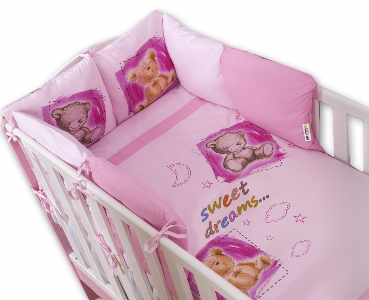 Povlečení s polštářkovým mantinelem Sweet Dreams by TEDDY - růžový - 140x70