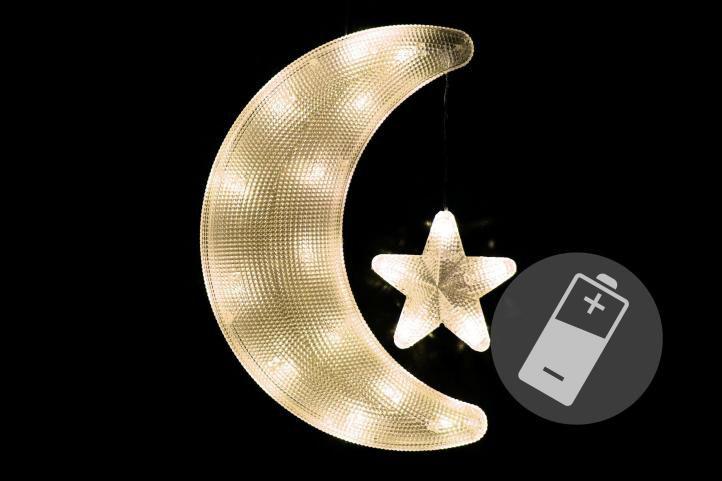 Vánoční dekorace - měsíc s hvězdou - teple bílé