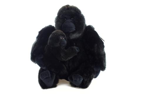 Plyš Gorila s mládětem 27 cm