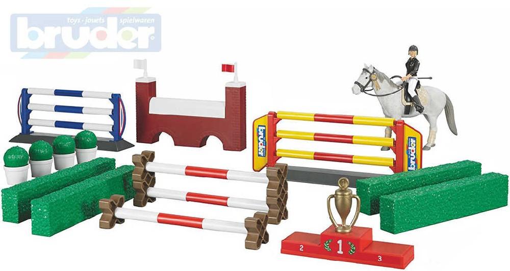 BRUDER 62530 Parkur sada jezdecká kůň s figurkou a překážkami 1:16 plast
