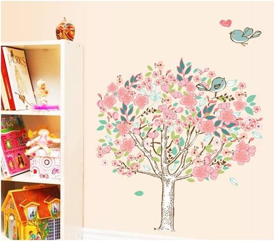 Samolepka na zeď Rozkvetlý strom s ptáčky