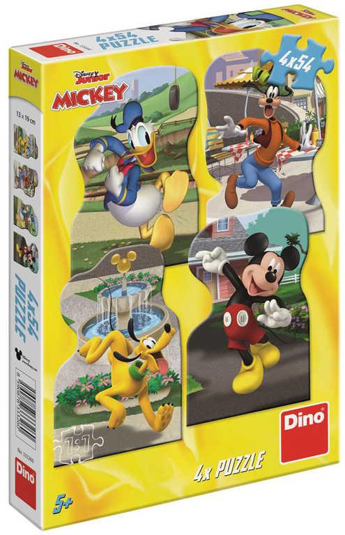 DINO Puzzle Mickey Mouse ve městě 4x54 dílků 13x19cm skládačka v krabici